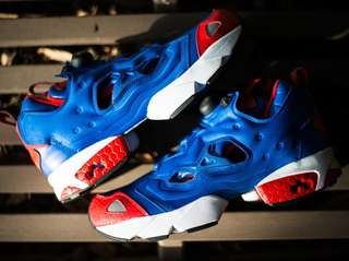 (RUSH🔴🔵 Rebook Pump Fury Blue& Red (Size 8)