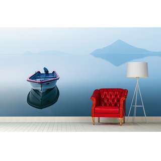 🚚 A BOAT ON THE LAKE WALL MURAL ART