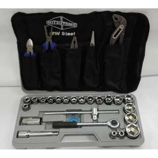 "1/2"" Dr 24pcs Socket Set & 5pcs Plier Set"
