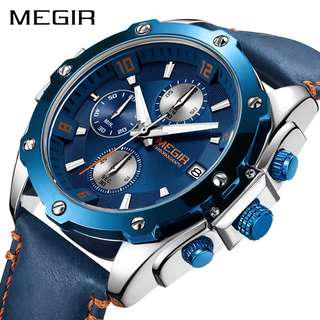 MEGIR Chronograph Men Watch Relogio Masculino Blue Leather Business Quartz Watch (Pre-order)