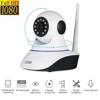 1405. LESHP 1080P Wireless IP Camera Full HD WiFi Home Security Surveillance System Night Vision for Baby / Elder / Pet / Nanny Monitor, Pan/Tilt/Zoom, Two-Way Audio, P2P Cloud Technology