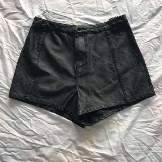 Divided High-waist Leather Shorts