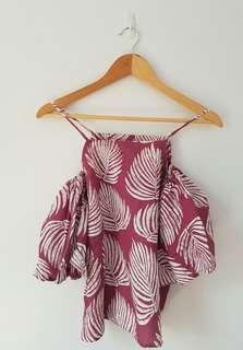 Pink palms off shoulder top