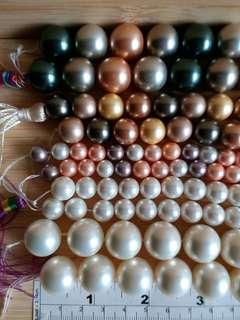 一手5 五條貝殼珍珠鏈shell pearl,8/10/12/14/16mm,16吋, 媲美數千元 南洋養珠, 單條價錢另議