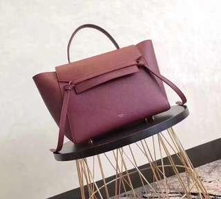 Celine belt bag wine red