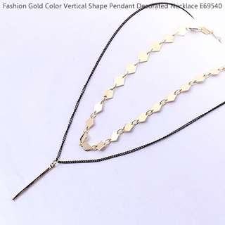 Fashion Gold Color Vertical Shape Pendant Decorated Necklace E69540