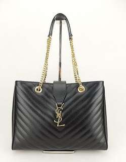 YSL Matelesse Leather Shopping Black