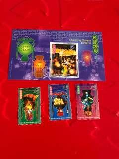 香港燈彩郵票+小全張