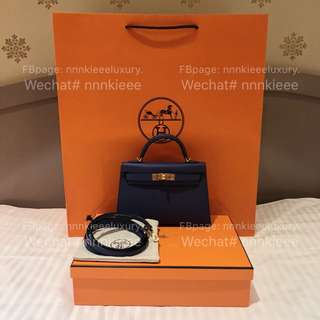 購自歐洲100% Authentic & Brand New Hermes Mini Kelly ll 20cm 7E Blue Brighton Epsom GHW