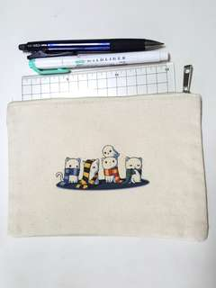 Hogwarts Kitten Canvas Pencil Case Pouch