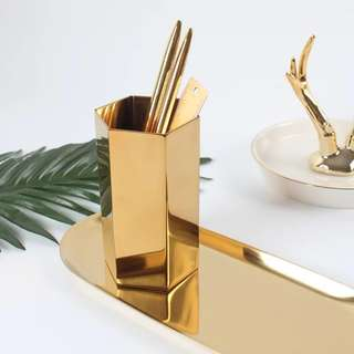 🚚 黃銅金屬六邊形圓形   筆筒/花瓶裝飾/拍攝道具/金屬/桌面擺設/收納道具/拍攝道具/拍攝背景