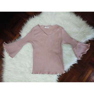 [BN] Dusty Rose Millenial Pink Ribbed Textured Three Quarter Long Sleeve Dip V Neck Cabbage Hem Ruffle Trumpet Bell Sleeve Korea Top Shirt Blouse