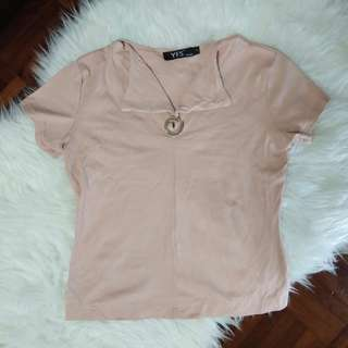 [BN] Dusty Rose Millenial Pink Circle Round Silver Ring Short Sleeve Stretchable Vintage Retro Top Shirt Blouse