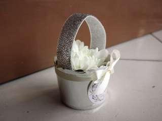 Bunga rampai in silver paper bucket