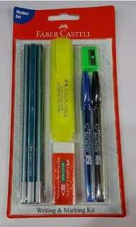 🚚 One Sets of Faber Castell Stationery set includes Pens, Pencils, Highlighter, Ruler, Eraser, Sharpener