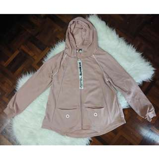 [BN] Off White Designer Inspired Baby Dusty Rose Millennial Zip Up Jacket Hoodie Outerwear Oversized Long Sleeve White Piping