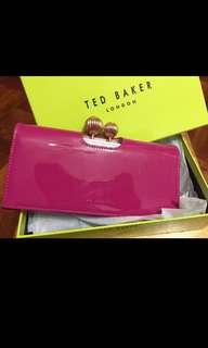 Ted Baker 桃紅鑽石金扣crystal bubbles女裝長銀包皮夾英國hot pink Wallet Purse pvc皮