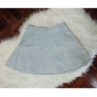 [BN] Forever 21 Chambray Denim Circle Flare A Line Light Washed Out Blue Short Mini Korea Skirt