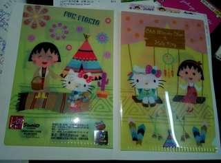 全新Sanrio 正版Hello kitty x 小丸子小型文件套