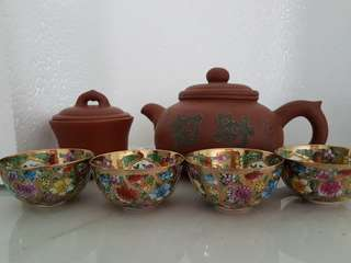 Teapot Set 招财进宝紫砂壶+4 flower thin tea cups