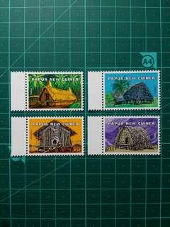 [均一價$10]1976 巴布亞新畿內亞 傳統小屋 新票一套