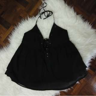 [BNWT] Roxy Authentic Beach Halter Corset Lace Up Sleeveless Chiffon Black Top Shirt Blouse