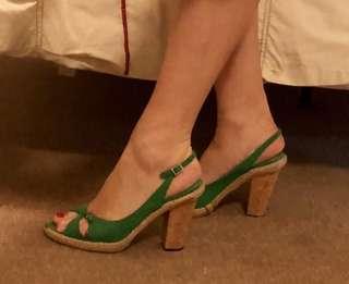 Paul Smith cork heeled green suade slingbacks