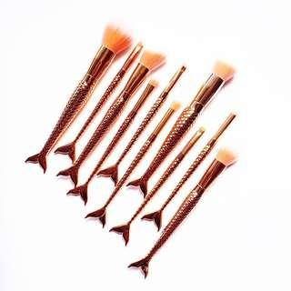 🚚 [VIF] Mermaids in Rose Gold Makeup Brush Set (10pcs)
