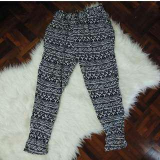 Tribal Aztec Beach Flowy Airy Print Pattern Long Pants Trousers Navy Blue and Peach Jogger Korea