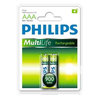 Philips AAA Rechargeable Battery 900mah 2 pieces in a pack
