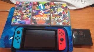 99%新紅藍Switch 連3game配件不散賣