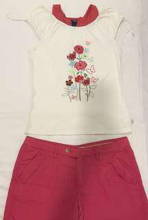 Oshkosh White Top with Embroidery Flowers #july100