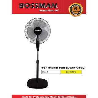 "BOSSMAN 16"" Stand Fan BSF161DG Adjustable Height 3 Speed Push Button"