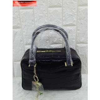Falchi New York Croco Embossed Leather Handbag