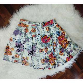 [BN] Cotton On Circle Flare A Line Floral Pattern Print Vintage Girly Colorful Hot Pink Magenta Mustard White Short Mini Korea Skirt