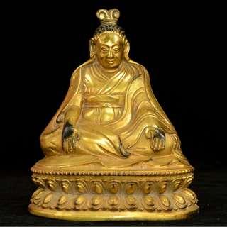 密宗仏像  銅製金鍍  米勒日巴  供養品
