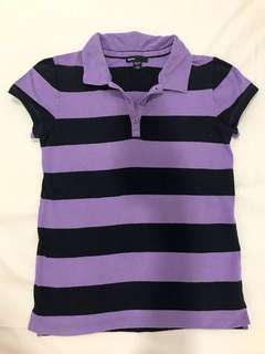 GapKids Striped Purple & Black Collared Top #july100
