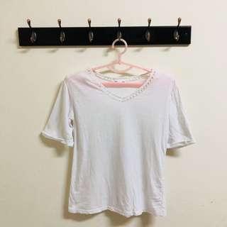 🚚 簡約鏤空白上衣