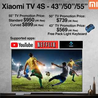 "TV Xiaomi Android TV 4S 43""/50""/55"" Build in Mitv Box (Ready Stock)"