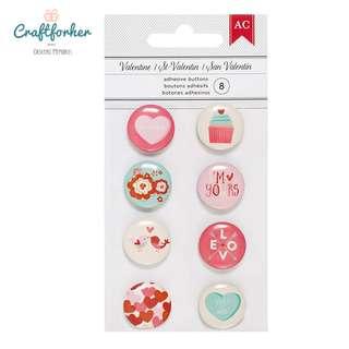 🚚 ★Embellishments★ Valentine Mini Flair Adhesive Buttons 8Pcs