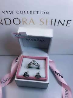 Pandora Crown ring and earrings