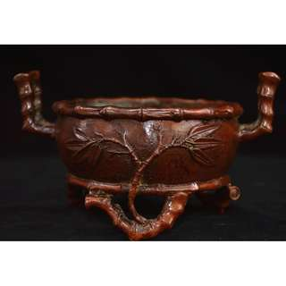 民間收集  銅製  竹节紋  香炉  大明宣德年製在銘