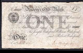 1825年大英帝國安德沃老銀行(Andover Old Bank)行徽及英皇佐治四世徽號壹金鎊(Sterling Pound)銀票(手簽, 保真, 少見)