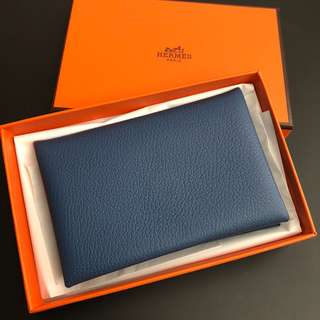Hermes Calvi 雙拼色Card Holder evercolor leather