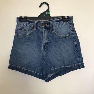 Glassons High waisted blue denim shorts