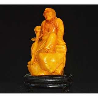 友人寄賣 寿山石精雕刻  長眉羅漢  擺設