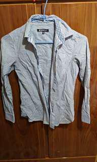 🚚 藍白條紋長版襯衫