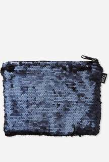 Typo navy shape it matte sequin pencil case
