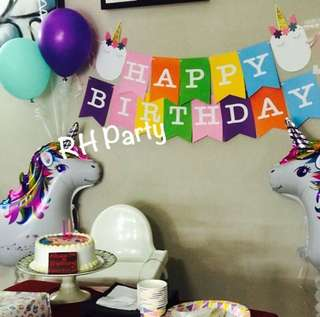 (16/7) Happy birthday unicorn banner /latex balloons/ walking pet unicorn wall deco
