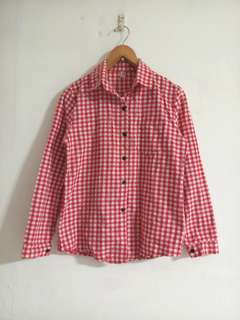 🚚 紅色格紋襯衫